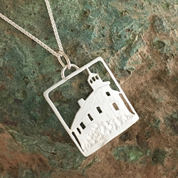 Marquette Harbor Lighthouse Michigan Upper Peninsula Sterling Silver U.P. pendant, Marquette, lake superior, upper peninsula, michigan, handcrafted