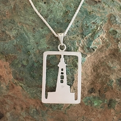 Stannard Rock Lighthouse Michigan Upper Peninsula Sterling Silver U.P. pendant, Marquette, lake superior, upper peninsula, michigan, handcrafted, stannard rock lighthouse