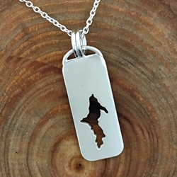 Michigan Upper Peninsula Pendant Tag Sterling Silver Cutout U.P. pendant, Marquette, lake superior, beth millner, upper peninsula, michigan, handcrafted